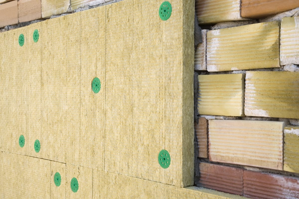 mineral wool on external wall